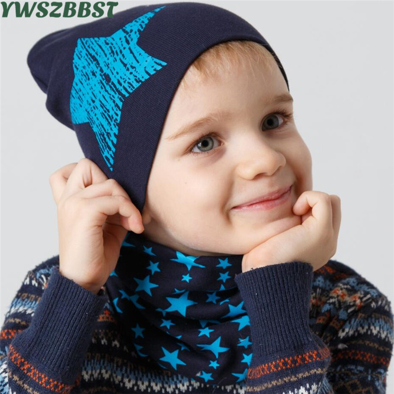 New Fashion Stars Baby Hat Cotton Scarf Infant Hats Set Child Caps Scarf Baby Cap for 0-3 years Kids wear in Autumn Winter gorros de baño con flores