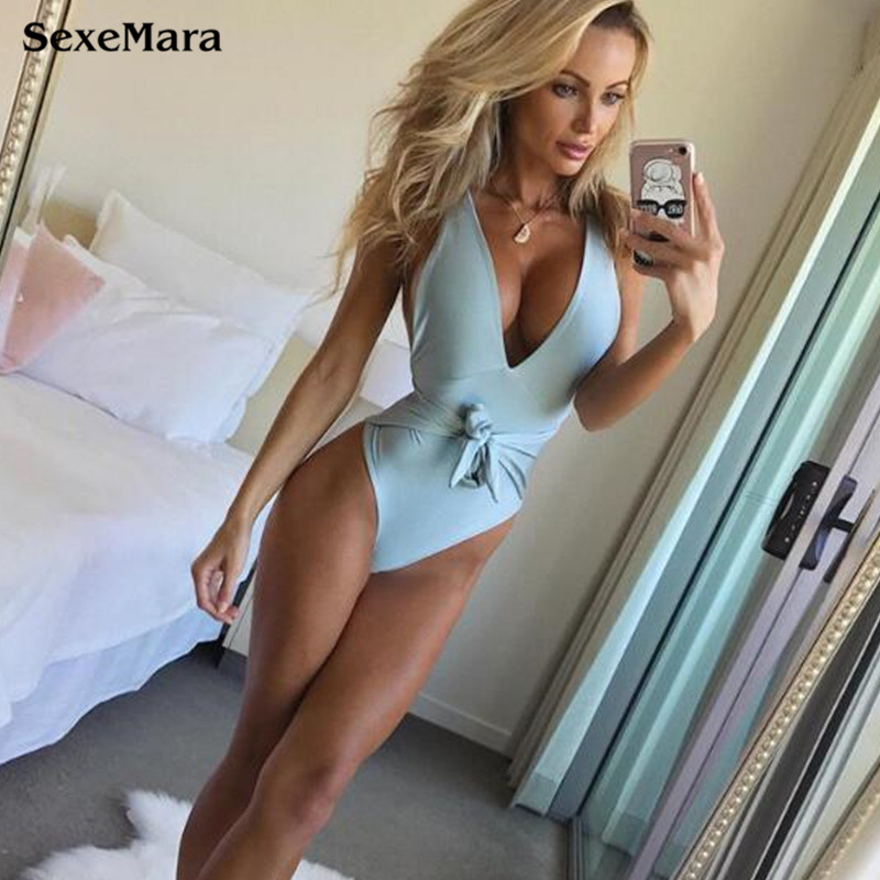 Large Size Swimwear Female Bow 2018 Sexy One Piece Swimsuit Solid May Women Fused Push Up Bather Backless Monokini Beach XXL