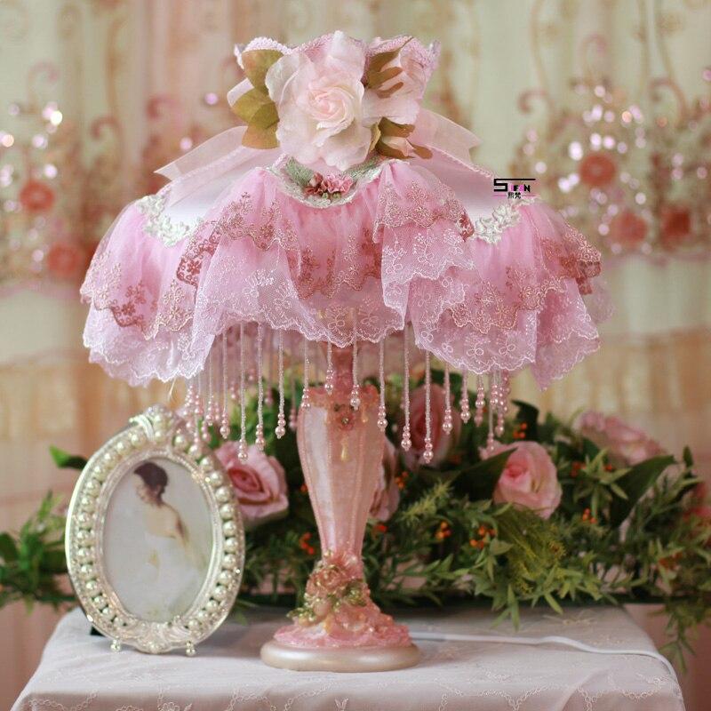 Мода настольная лампа принцесса кружева ткань настольная лампа гостиная огни спальня ночники свадьба лампы