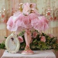 패션 테이블 램프 공주 레이스 천으로 테이블 램프 거실 조명 침실 머리맡 결혼식 램프