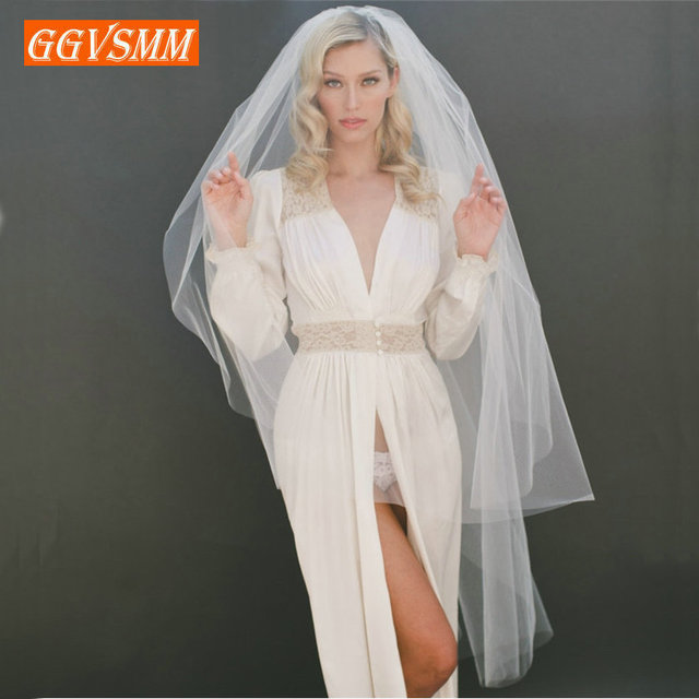 2020 Simple Women White Bridal Veils With Comb Two Layers Tulle Short 120cm Ivory Bride Veil Cut Edge Cheap Wedding Accessories 4