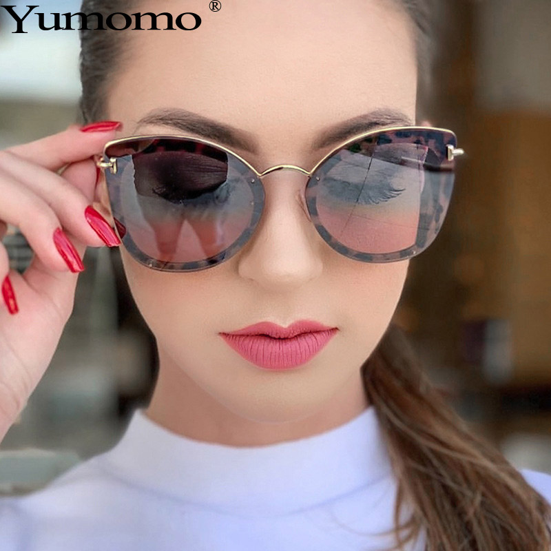 Yumomo Cat Eye Sunglasses Women 2019 New Fashion Vintage Sexy Metal Oversize Frame Gradient Colorful Mirror Ladies Eyeglasses in Women 39 s Sunglasses from Apparel Accessories