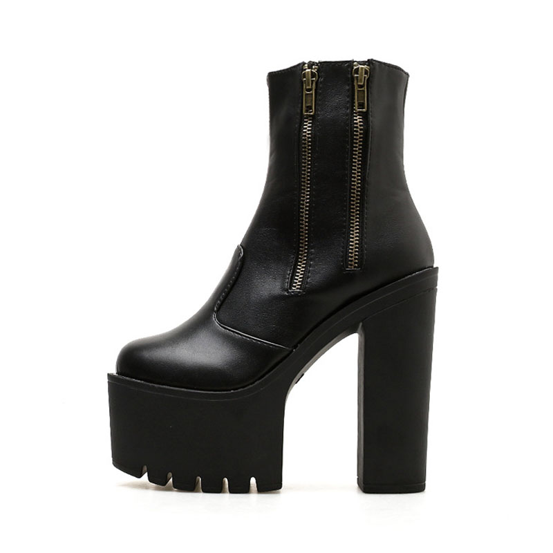 2019 new fashion ankle boots for women high platform women shoes leather martin boots high heels tie cross boots women