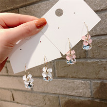 Simple Crystal Flower Earrings For Women Korean Style Sweet pendientes 2019 Fashion Jewelry