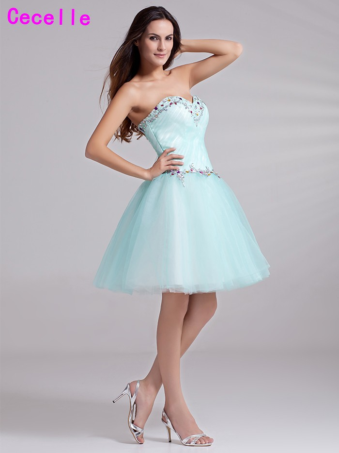 6a19f58ff6199 US $97.79 30% OFF|Cute Mint Short Juniors Homecoming Dresses 2019  Sweetheart Beaded Crystals Tulle Knee Length Homecoming Party Gowns  Teens-in ...