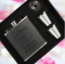 4PCS/set 7 oz #304 JD stainless steel wine hip flask wiskey flagon 1 kettle 2 cups 1 funnel mug men travel gift  BJJ328