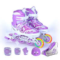 9 In 1 Children Inline Skate Roller Skating Shoes Helmet Knee Protector Gear Adjustable Washable Hard Wheels Teenagers 4 Colors