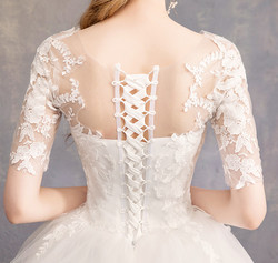 LYG-H15#It's Ivory white wedding dress lace up Floor-Length Bride's marriage dresses Ball Gown cheap wholesale 6