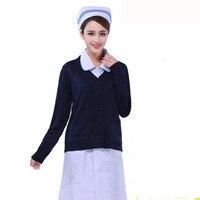 Medical Nurse Cardigan Sweater Coat Hospital Uniforms Warm Sweater Slim Fit Coat V neck Design Nurse Coat