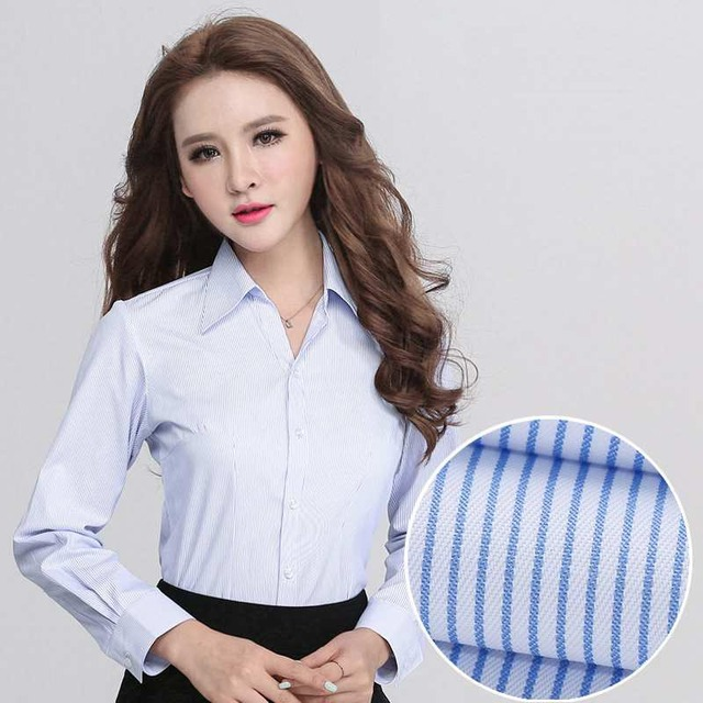tops work wear shirt women plus size designer clothes china lady dress  fashion casual long sleeve shirts cotton striped top 144 c34b14099