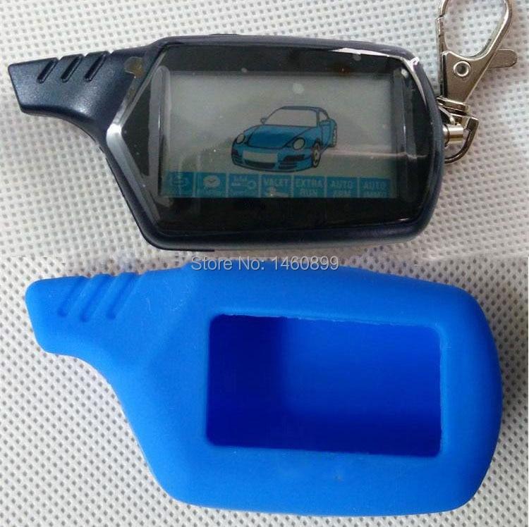 B9 kétirányú LCD távirányító kulcstartó kulcstartó kulcstartó + Tamarack szilikon kulcs tok kétirányú autó riasztórendszerhez Starline B9