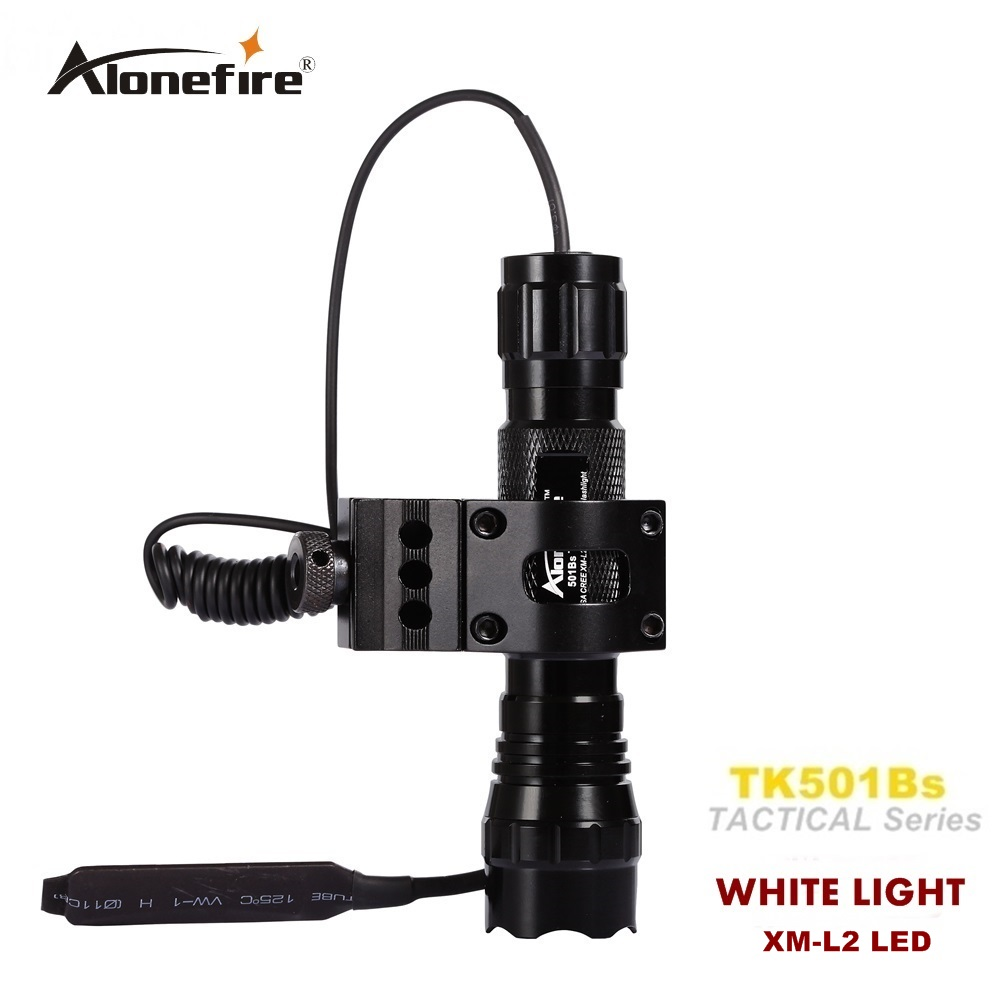 Alonrfire 501B CREE XM-L2 LED Tactical Flashlight Torch shot gun weapon light hunting Bright light +Remote Switch+Gun Mount