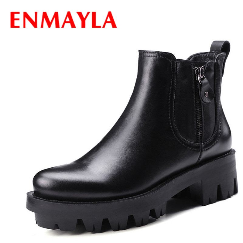 ENMAYLA Black Motorcycle Boots Shoes Woman High Heels Round Toe Zippers Platform Spring and Autumn Ankle Boots for Women Shoes enmayla ankle boots for women low heels autumn and winter boots shoes woman large size 34 43 round toe motorcycle boots