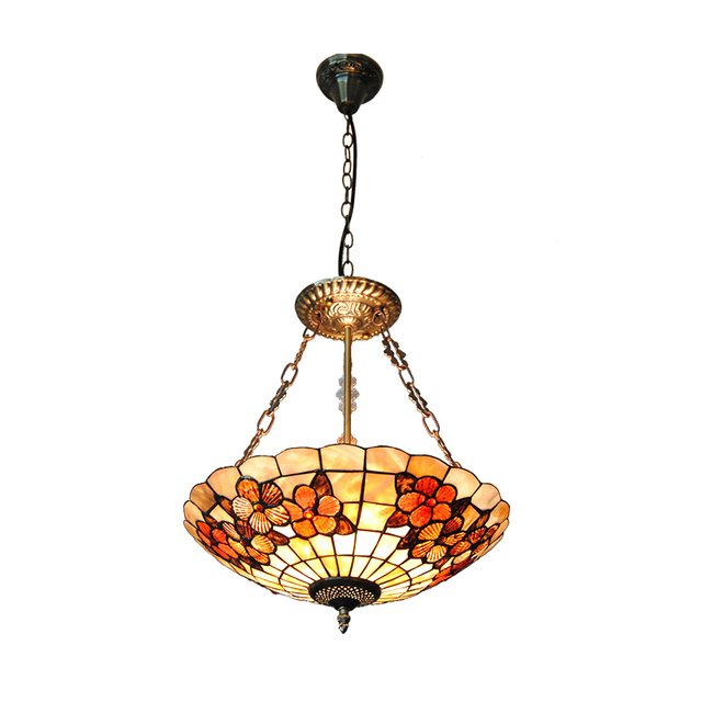 16 Mediterranean Sea Shell Lampshade Stained Gl Lighting 3 Lights Inverted Pendant Lamps For Bar