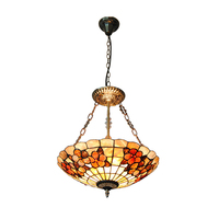 16 Mediterranean Sea Shell Lampshade Stained Glass Lighting 3 Lights Inverted Pendant Lamps For Bar Restaurant Fixtures PL805