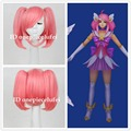 Free shipping Star Guardian LUX LOL League of Legends Short pink Cosplay Party Wig Hair +a wig cap
