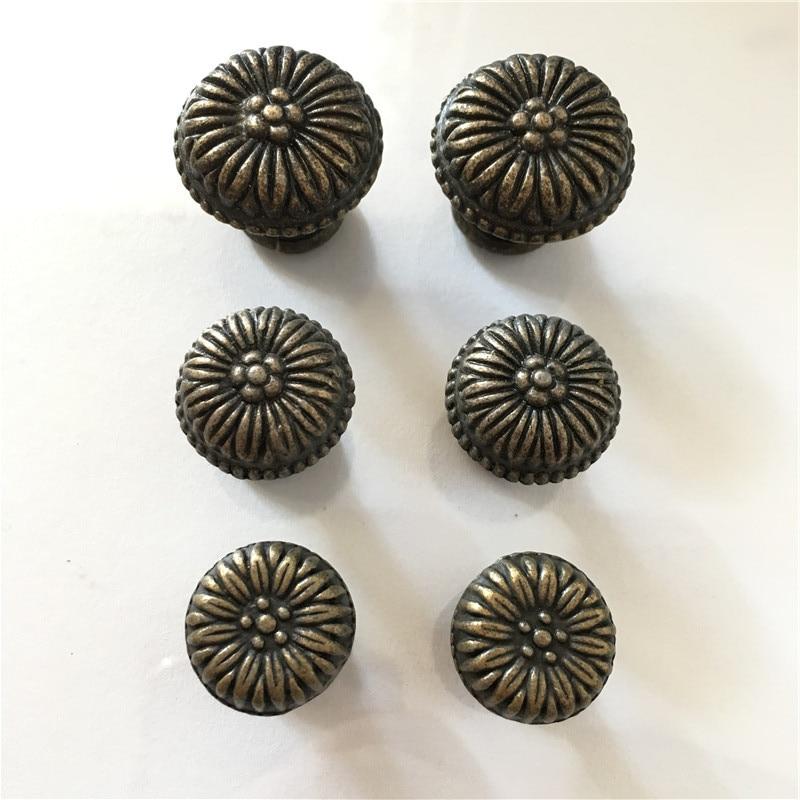 Jewelry Box Hardware Box Furnoiture Handle Flower Carved Fungiform Matched,Single Hole Handle,Bronze Tone,10pcs музыкальная шкатулка angela s gifts jewelry box