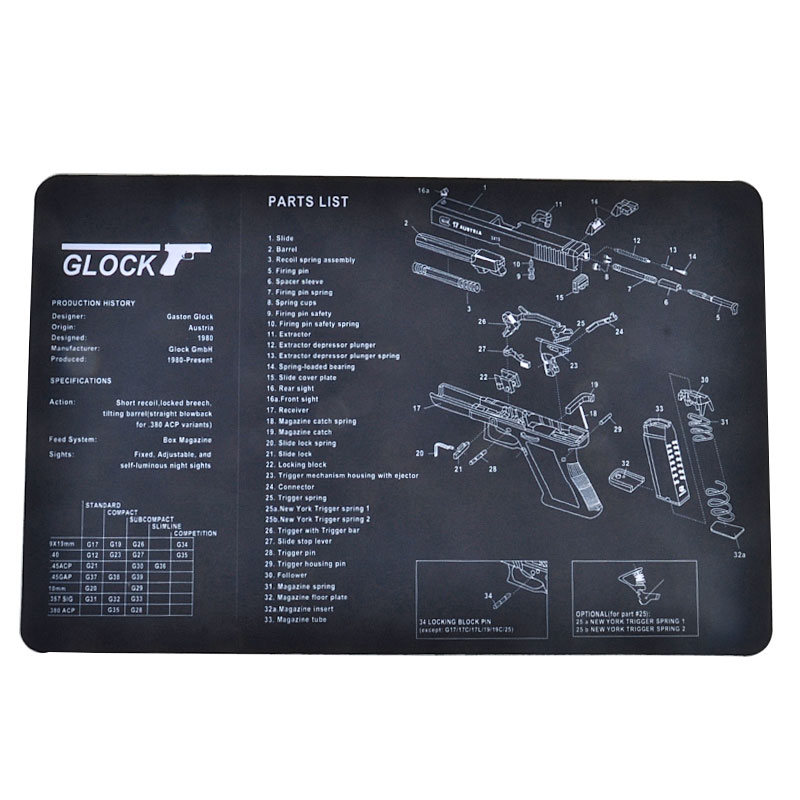 Tactifans Gun Cleaning Mat Rubber Carpet Waterproof Non-Slip Cleaning Bench With Diagram Parts And Instructions Clock 1911 P226