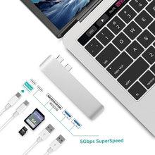 Uosible концентратор USB type C Thunderbolt 3 адаптер USB-C ключ с PD TF/SD кард-ридер слот USB 3,0 для MacBook Pro/Air type-C