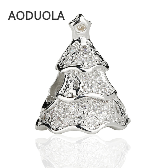Silver Plated Alloy Christmas Tree Beads with CZ DIY Big Hole Metal Beads  Spacer Bead Charms 54f019e5004a