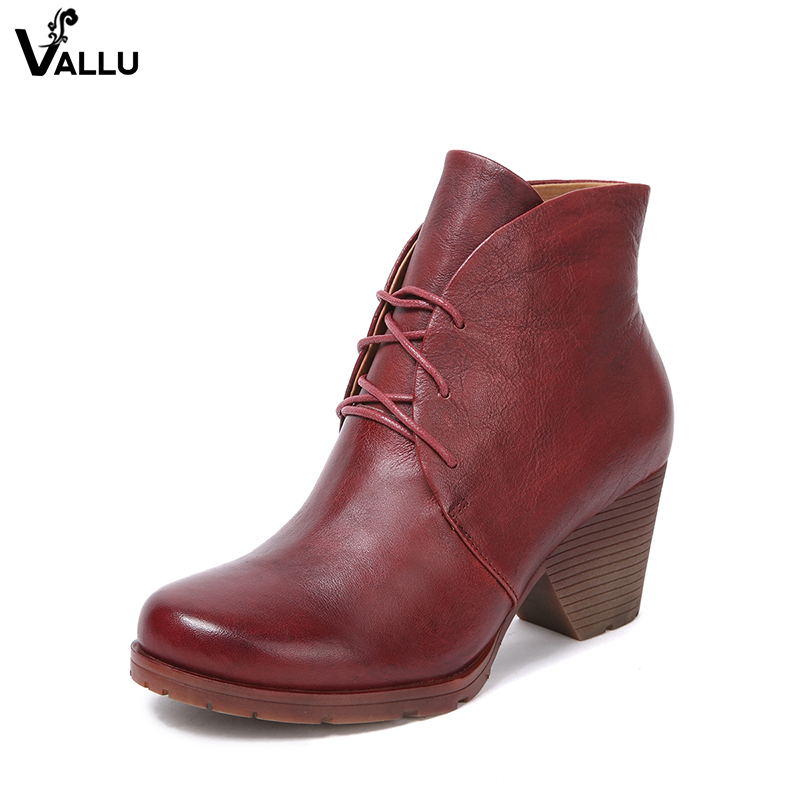 Leather High Heel Shoes Lady Genuine Leather Women' s Ankle Booties Round Toe Lace-Up Block Heel Fashion Female Casual Boots beango fashion metal toe rivets women boots lace up round toe low heel motorcycle booties casual shoes woman big size 34 43eu