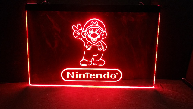 Nintendo Game Room Beer Bar LED Neon Light Sign Hang Home Decor Crafts