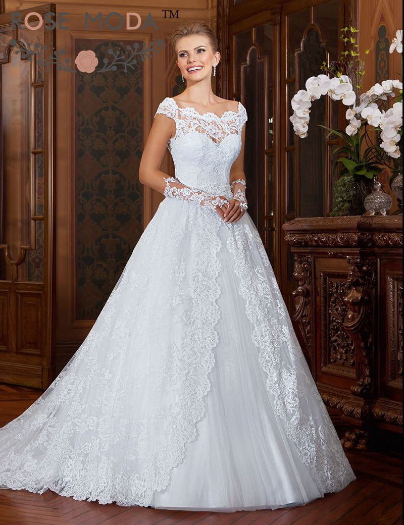Scalloped off the shoulder lace full a line wedding dress for Wedding dresses lace back