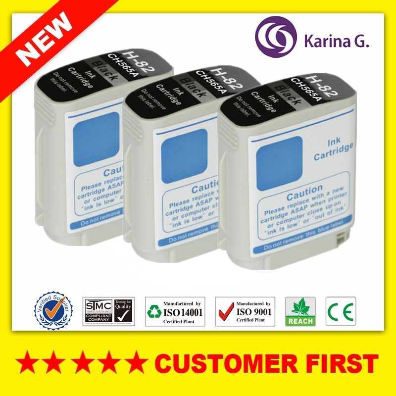 3X for HP 82 HP82 CH565A Black ink Cartridge for HP Designjet 510 800 800ps 815