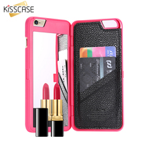 FLOVEME Armor For Apple iPhone 6 6s 6S Plus 7 Plus Lady Woman Makeup Mirror Card Slot Case Leather Bag For iPhone 7 7 Plus Cover