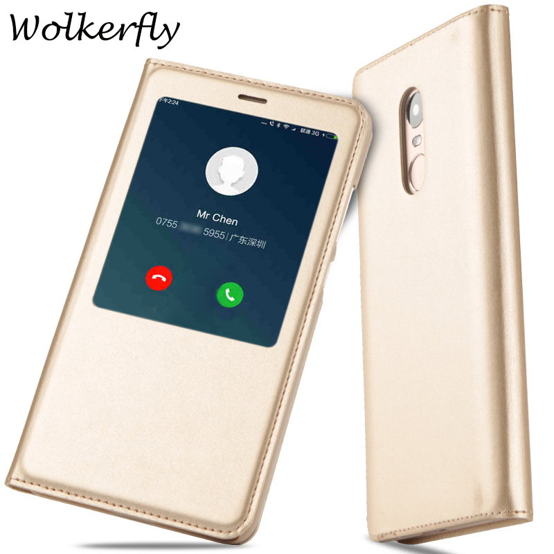 Flip PU leather cover For Xiaomi Redmi Note 4 case Quick View Open Window For Xiaomi Redmi Note 4 pro prime Phone Cases funda