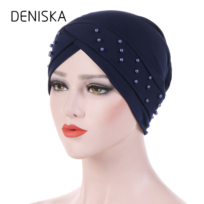 DENISKA Women Beading Side Flower Headwear Headwrap African Head wrap Twist  Hair Band India Turban Bandana Bandage Accessories 36d3344efdb