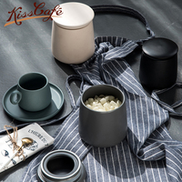 Nordic Minimalism Creative Coffee Beans Storage Sealing Jar Matte Surface Ceramic Snack Pot Fresh Tea Can Coffee Container