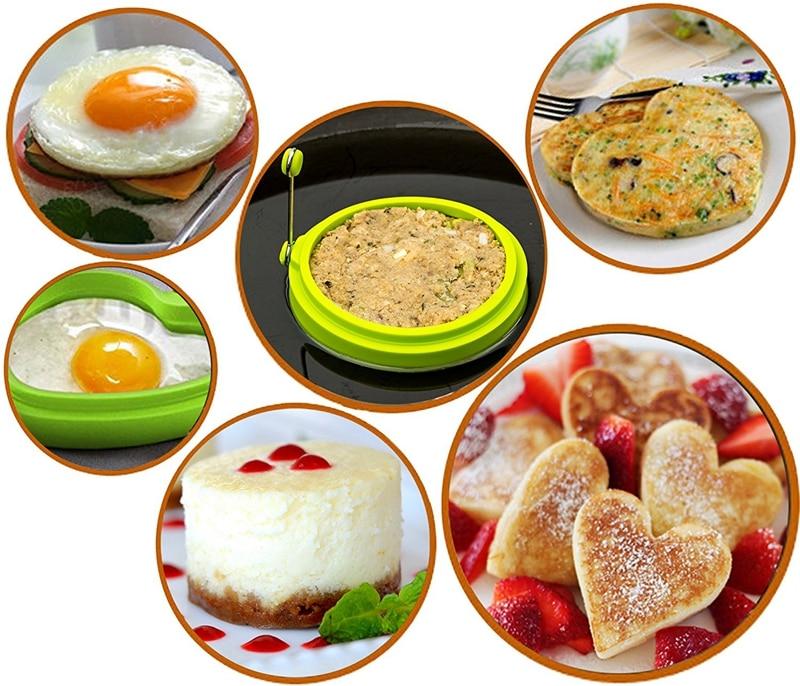 1PCS Ürək Formalı Silikon Yumurta Kalıpları Mətbəx Pancake - Mətbəx, yemək otağı və barı - Fotoqrafiya 6