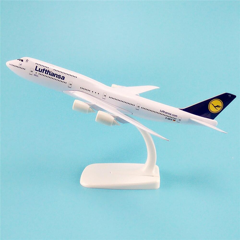 20cm modelo de aviao de liga de metal alemao ar lufthansa airways boeing 747 b747 400