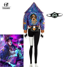 ROLECOS Game LOL KDA Akali Cosplay Costume Akali Cosplay Coat LOL KDA Cosplay Uniform Warm Winter Costume for Women(China)