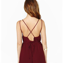 Mazefeng New 2017 Summer Playsuits Women Brief Style Sexy Solid jumpsuit Women deep v neck backless Causal Playsuits Women