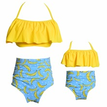 hot deal buy flouncing mother daughter bikini swimsuit mommy and me swimwear clothes family look matching outfits mom baby dresses clothing
