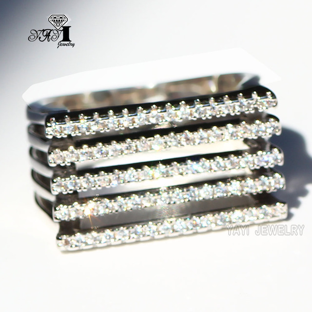 YaYI Jewelry Fashion  Princess Cut  5.6 CT White Zircon Silver Filled Engagement Rings wedding crown Rings Party Rings