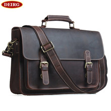 Men Briefcase Fit For 14 Inch Laptop Multi-function Vintage Cowhide High Quality Genuine Leather Business Bag PR091099