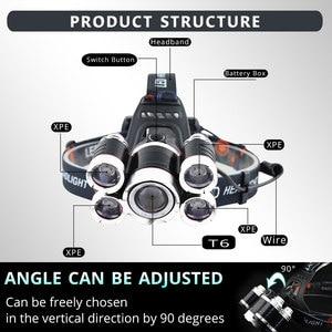 Image 3 - Brighest ไฟหน้า LED ไฟหน้า XML 3/5 LED T6 ไฟฉายไฟฉายไฟฉาย 18650 แบตเตอรี่ที่ดีที่สุดสำหรับ CAMPING,ตกปลา