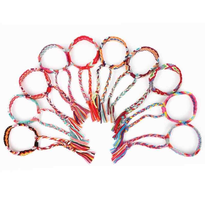 Bohemia Hippy Colorful Wrap Woven Bracelet for Woman Man Unisex Rope String Handmade Strand Bracelet Jewelry Gift