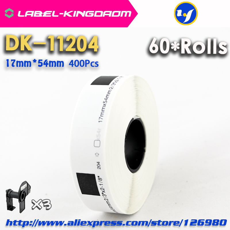 60 Refill Rolls Compatible DK 11204 Label 17mm 54mm 400Pcs Compatible for Brother Label Printer White