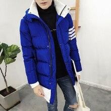 С капюшоном Зима Ватник Мужчины 2016 Теплая куртка мужской Лоскутное Долго Моды Личности мужская Ватные Куртки Плюс Размер 5XL