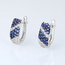 Silver Jewelry Set For Women Blue White Cubic Zirconia