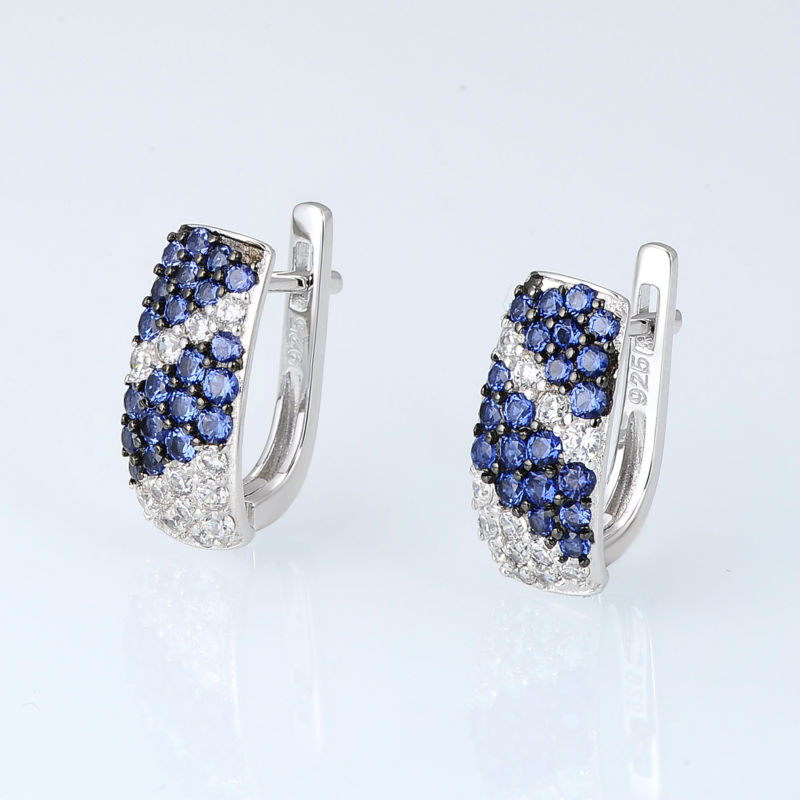 Image 5 - SANTUZZA Jewelry Set For Women Pure 925 Sterling Silver Blue White Cubic Zirconia Ring Earrings Set Exquisite Fashion Jewelry-in Jewelry Sets from Jewelry & Accessories