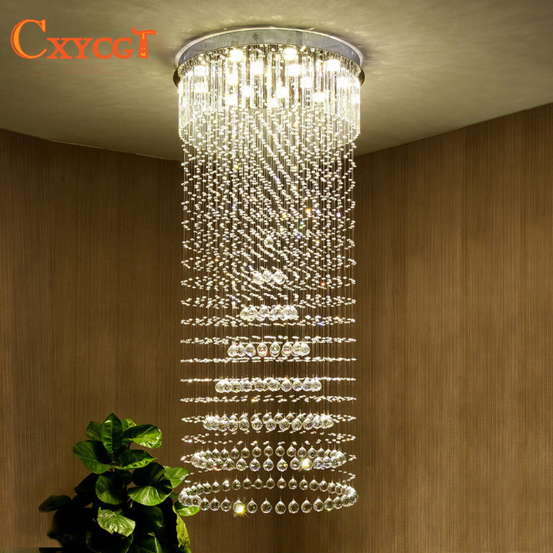 CXYCGT K9 Crystal Chandelier Villa Lobby Lounge Dining Room Living Room Lamp Double Staircase Long Crystal Chandelier Light led chinese style simple led long block crystal villa staircase pendant lamp revolving double staircase living room lighting pendant