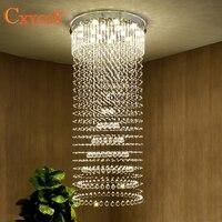 K9 kryształowy żyrandol willa Lobby salon jadalnia lampa do salonu podwójne schody długi kryształowy żyrandol światła led w Żyrandole od Lampy i oświetlenie na