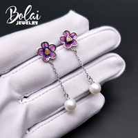 bolaijewelry, pearl stud earring round 7.0mm plum blossom design 925 sterling silver fine jewelry for girl anniversary present
