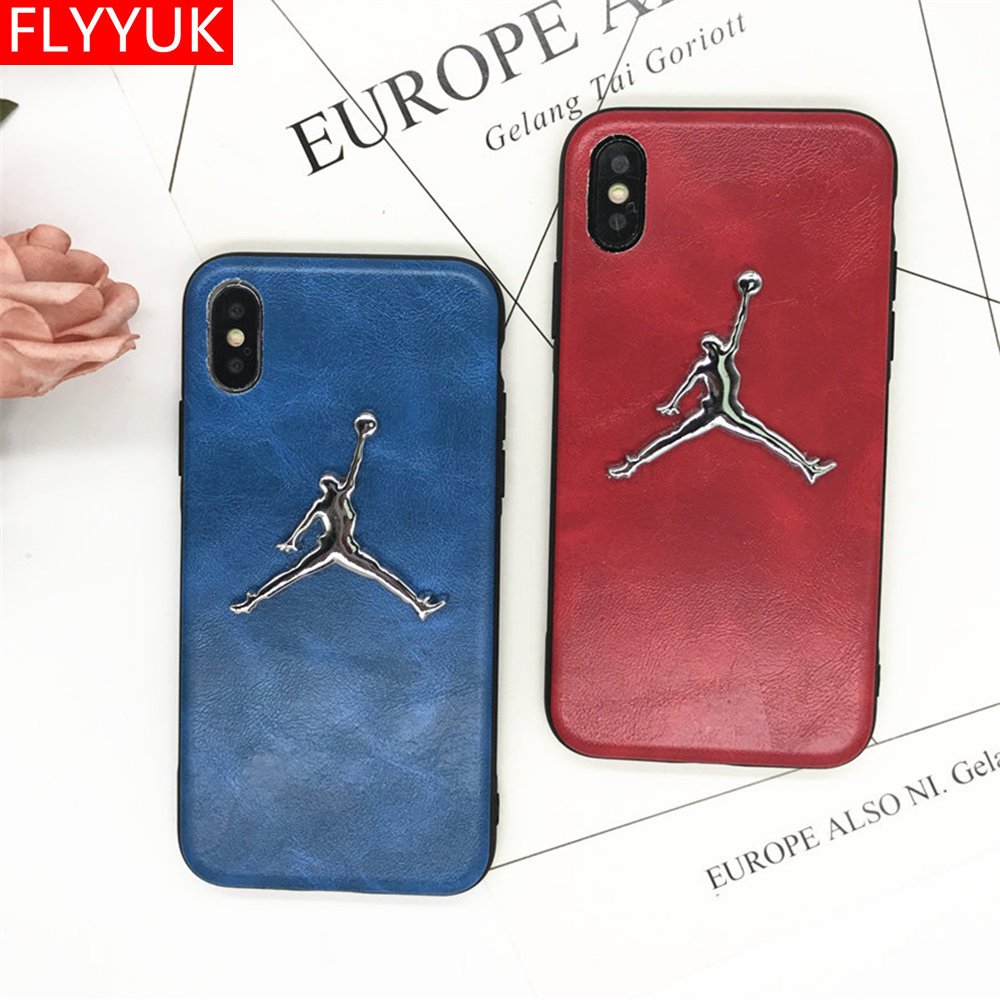 Fashion Business Leather Texture Soft PU <font><b>Phone</b></font> <font><b>Case</b></font> for Iphone X 6 6s 7 8 Plus <font><b>Case</b></font> Metal 3D Michael Super <font><b>NBA</b></font> Jordan Back Cover