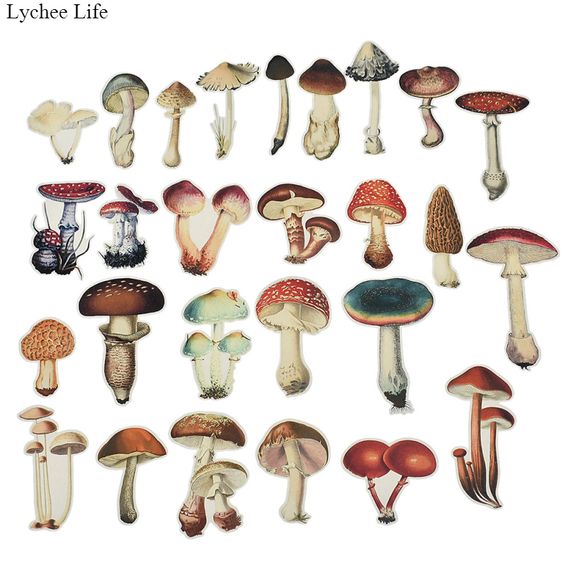 Lychee Life 26pc Mushroom Stickers DIY Color Watercolor Hand-painted Scrapbook Album Notebook Diary Card Decoration Stickers